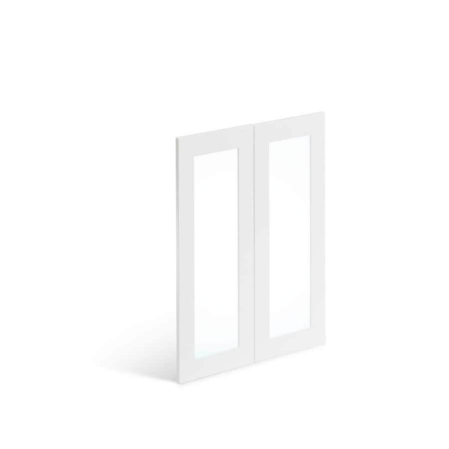 Valleywood Cabinetry Double 30 Inw X 36 Inh Glass Door Shaker Flat Panel Pure White In The Kitchen Cabinet Doors Department At Lowes Com