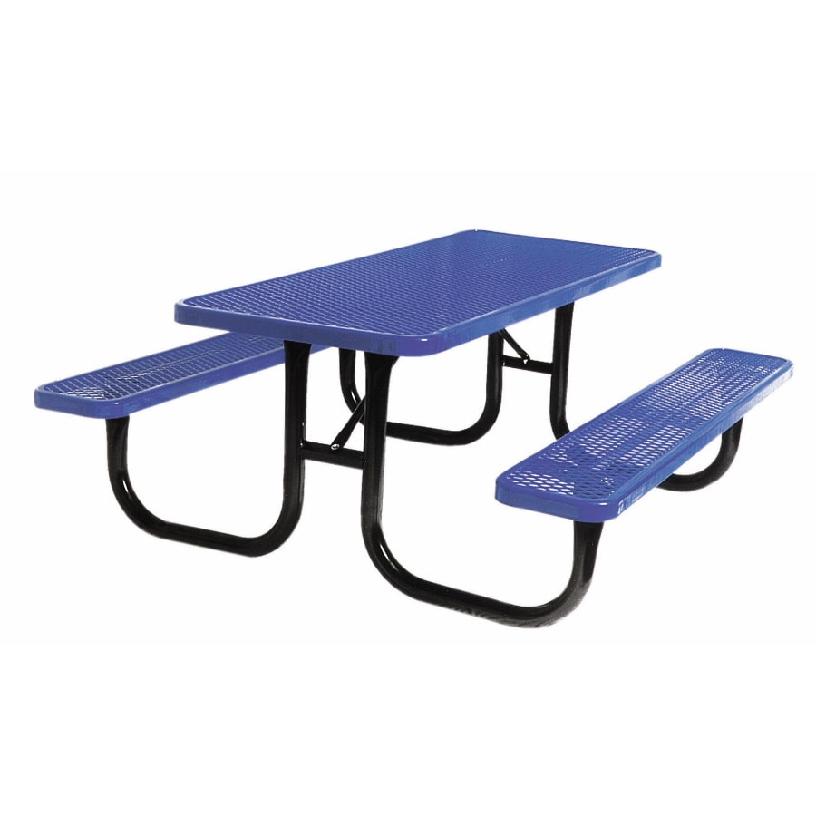 "Ultra Play 72""L Blue Rectangular Picnic Table with Benches"