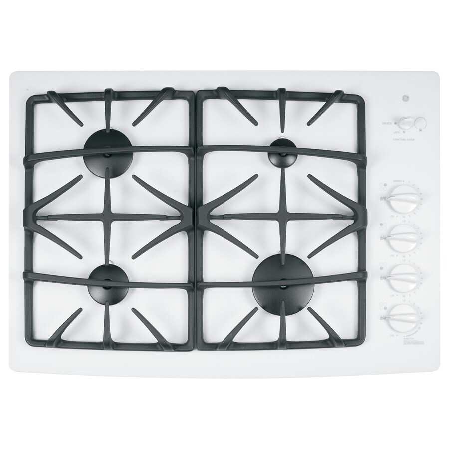 ge profile 4burner gas cooktop white common 30in