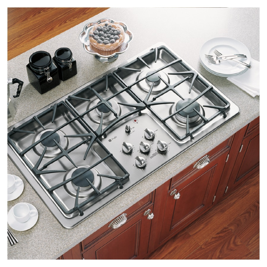 5 Burner Gas Cooktops: GE Profile 36-Inch 5-Burner Gas Cooktop (Color: Stainless