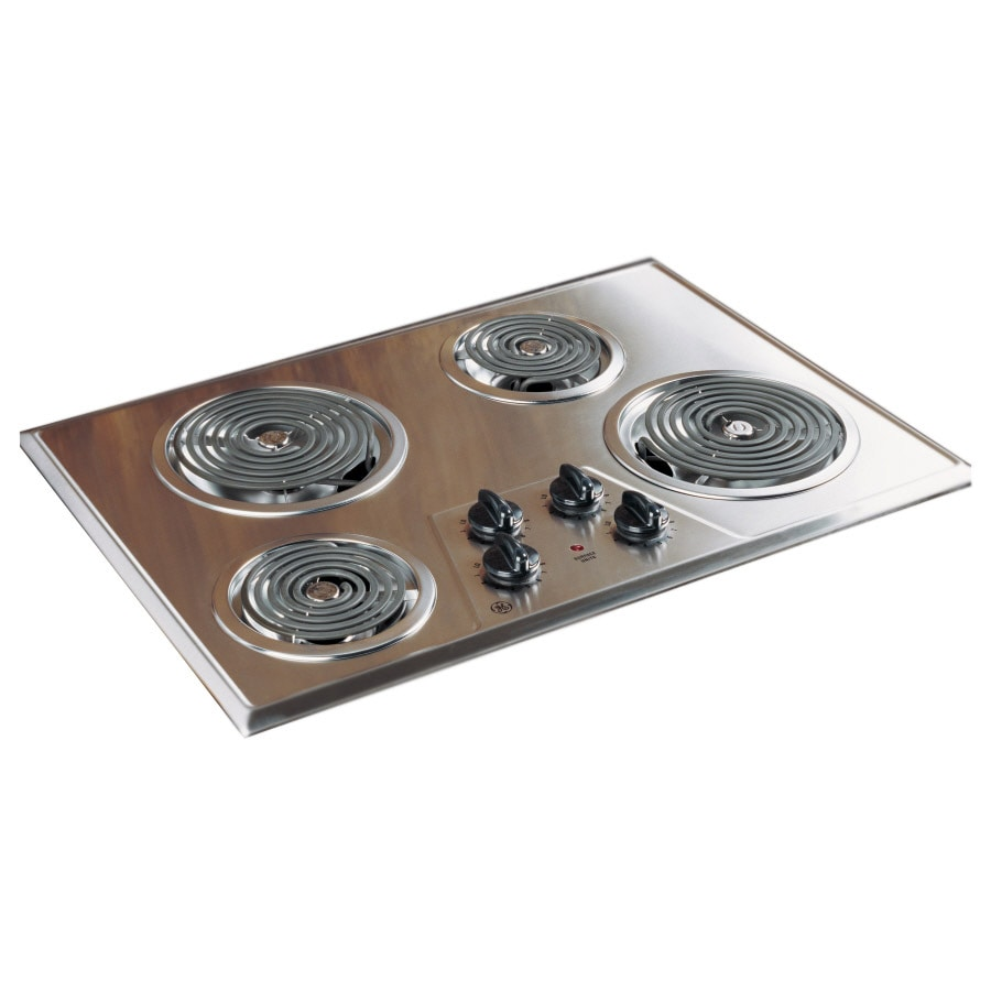 ge coil electric cooktop stainless steel common 30in actual