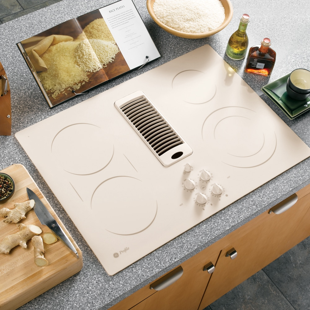 ge profile 30inch downdraft electric cooktop color bisque