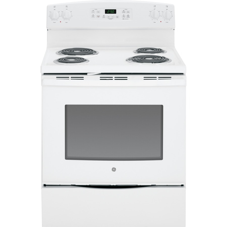Ge 5 3 Cu Ft Self Cleaning Freestanding Electric Range White Common 30 In Actual 29 875