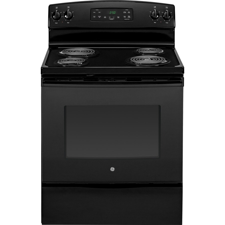 GE Freestanding 5.3-cu ft Self-Cleaning Electric Range (Black) (Common: 30-in; Actual: 29.875-in)