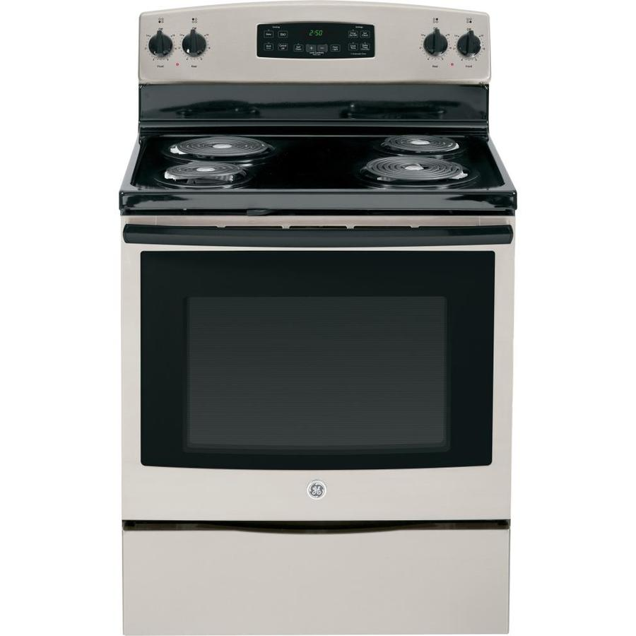GE Freestanding 5.3-cu ft Self-Cleaning Electric Range (Silver) (Common: 30-in; Actual: 29.875-in)