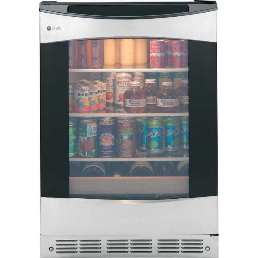 GE Profile 5.3-cu ft Stainless with Black Case Freestanding Beverage Center