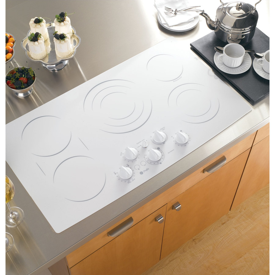 Ge Profile 5 Element Smooth Surface Electric Cooktop White Common 36 In Actual