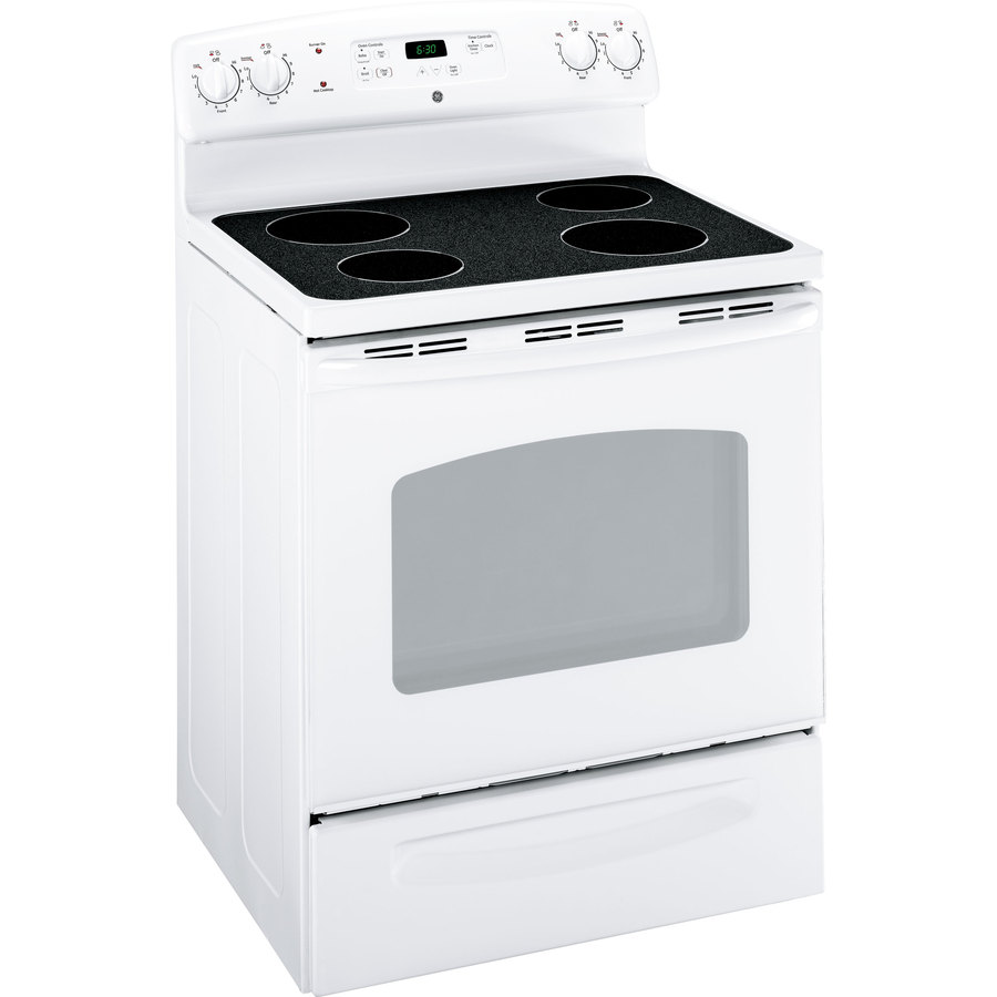 GE 30-in Freestanding Smooth Surface 5.3 cu ft Electric Range (White)
