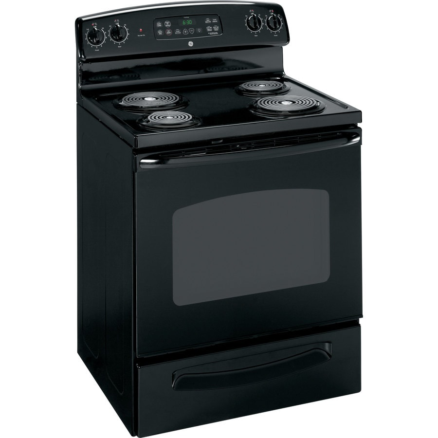 GE Freestanding 5.3-cu ft Self-Cleaning Electric Range (Black) (Common: 30-in; Actual: 29.87-in)