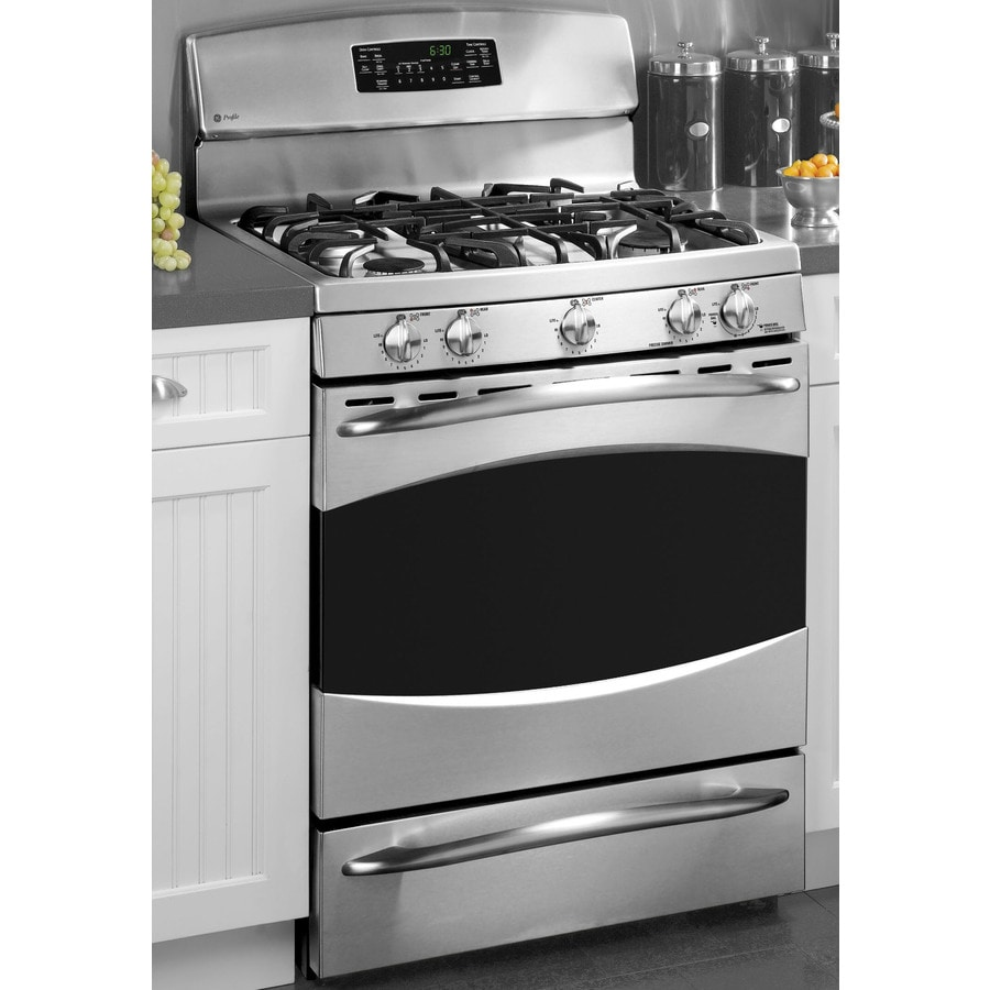 Ge Profile 5 Burner Cu Ft Self Cleaning Gas Range Stainless Steel Common 30 In Actual