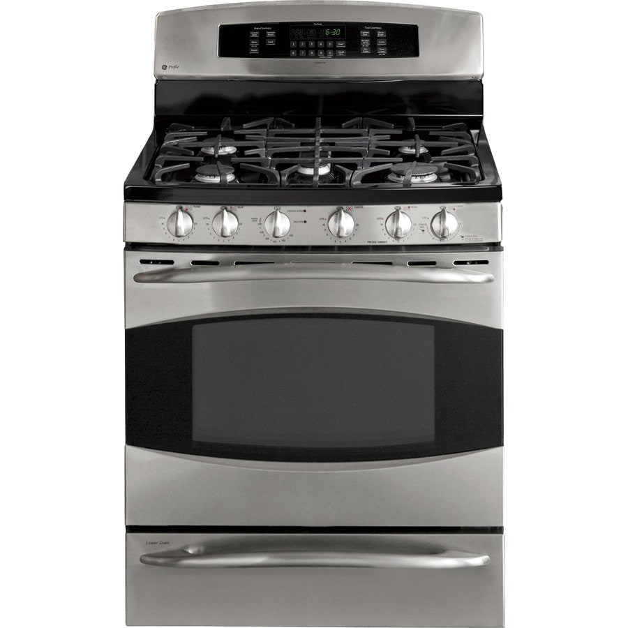 Ge Profile 5 Burner 6 Cu Ft Self Cleaning True Convection Gas Range Stainless Steel Common 30 In Actual