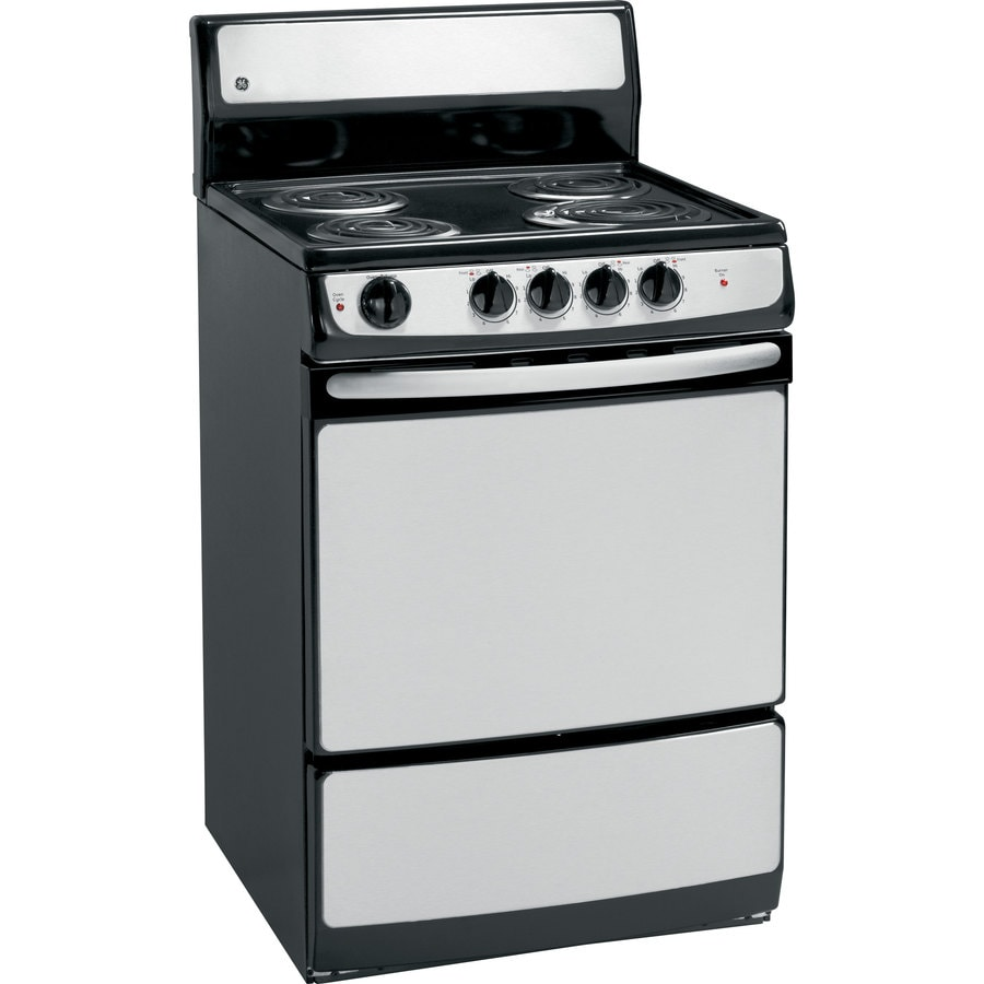 GE Freestanding 3-cu ft Electric Range (Stainless Steel) (Common: 24-in; Actual: 24-in)
