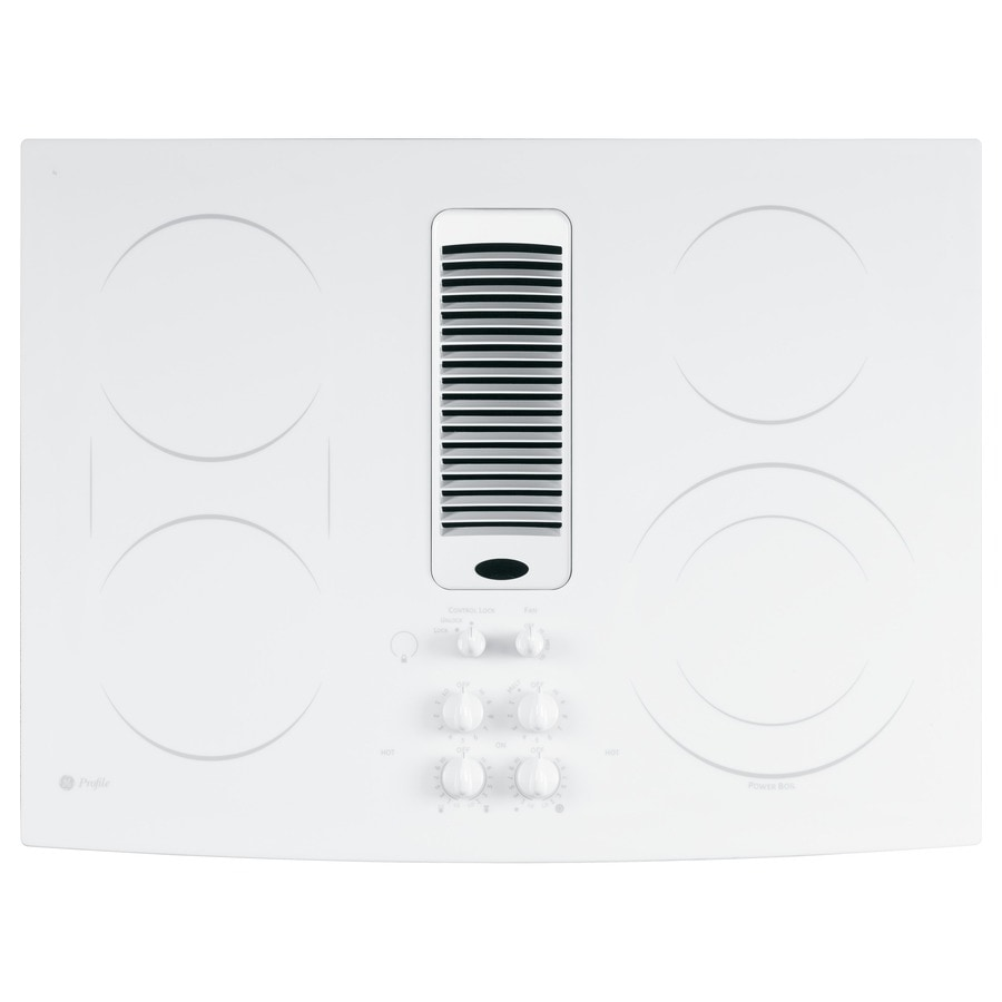 GE Profile 5-Element Smooth Surface Downdraft Electric Cooktop (White) (Common: 30-in; Actual 29.875-in)