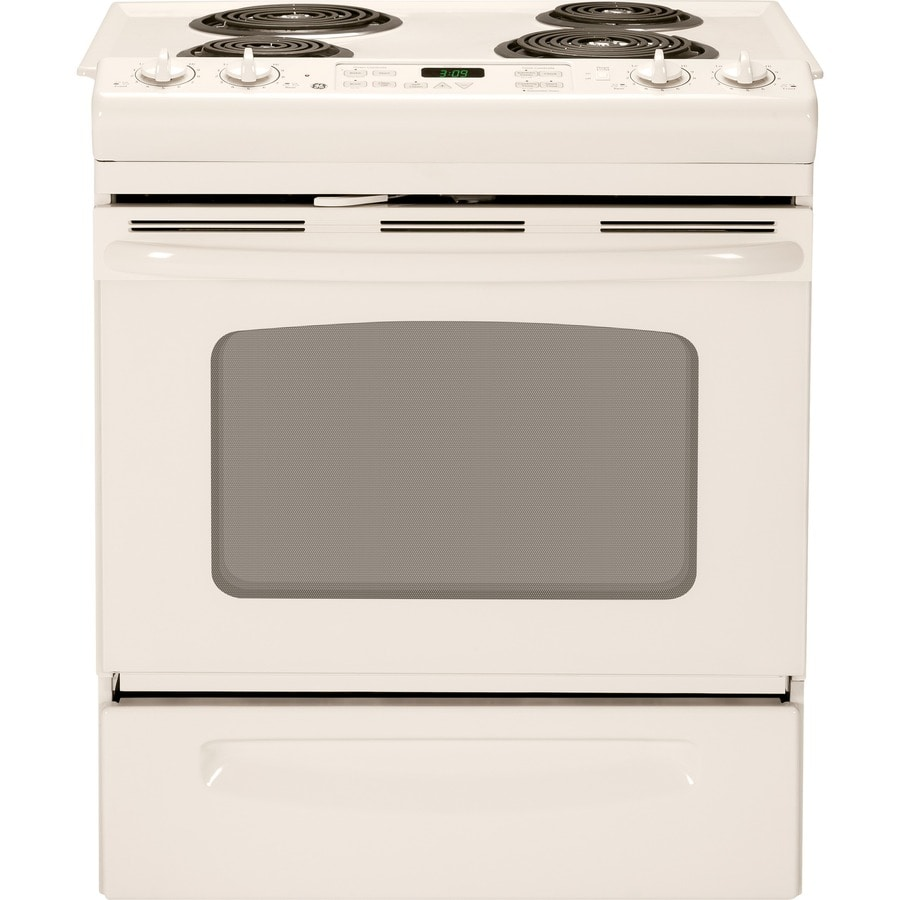GE 30-in 4.4-cu ft Self-Cleaning Slide-In Electric Range (Bisque on Bisque)