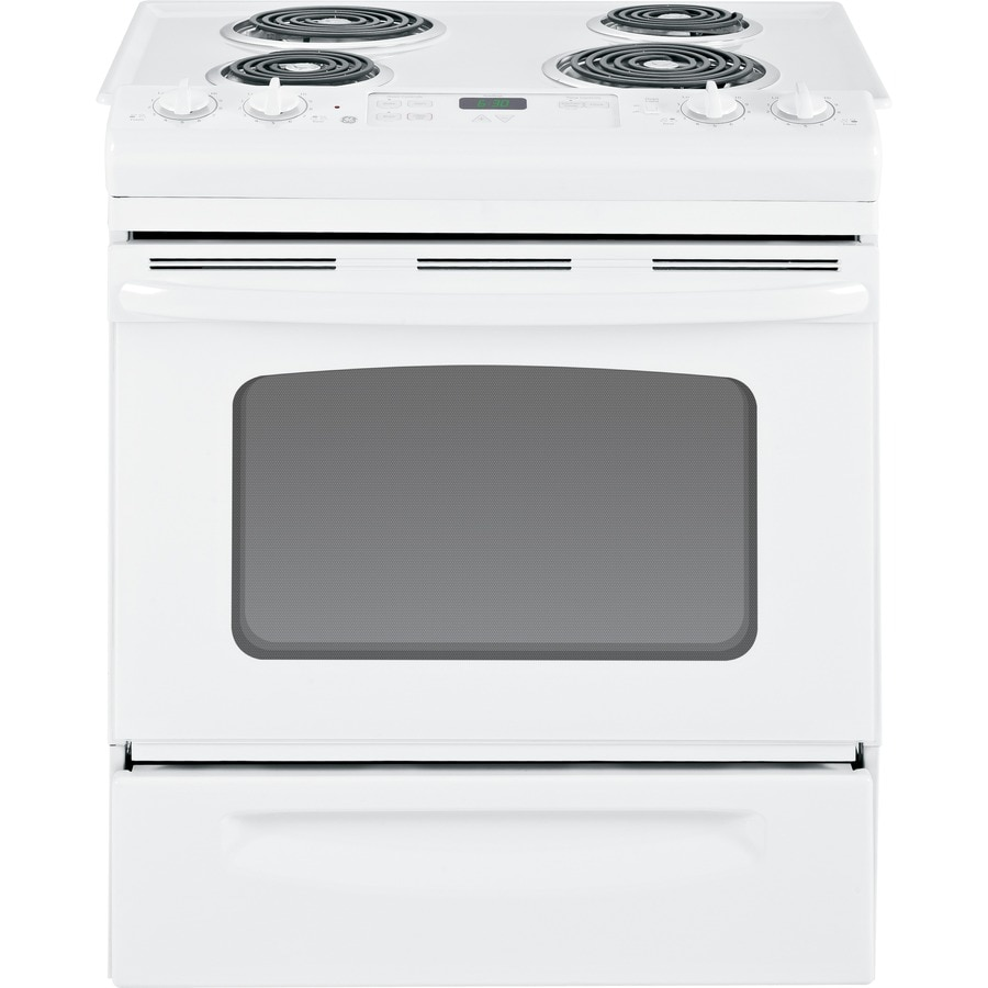 GE 30-in 4.4-cu ft Manual Clean Slide-In Electric Range (White on White)