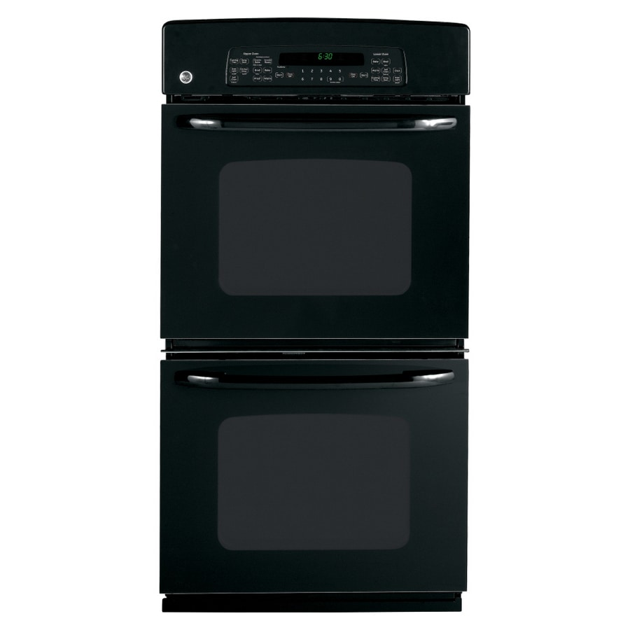 GE 27-in Self-Cleaning Double Electric Wall Oven (Black)
