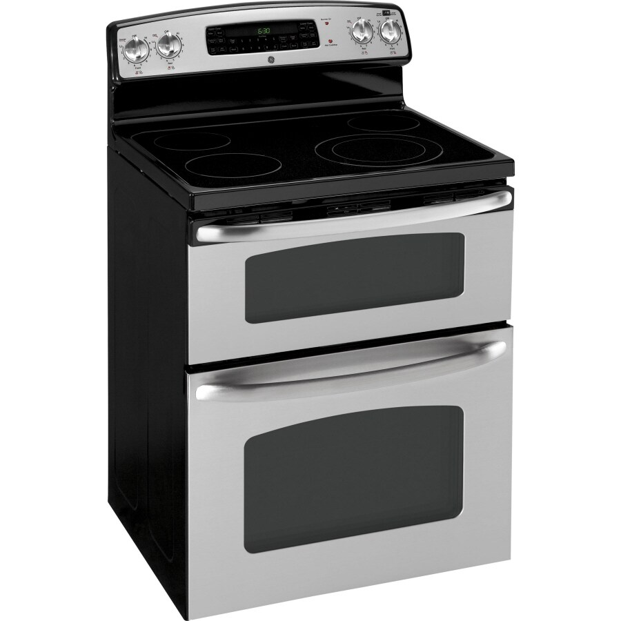 Ge 30 In Smooth Surface 4 Cu Ft 2 Self Cleaning Double Oven Electric Range Stainless Steel