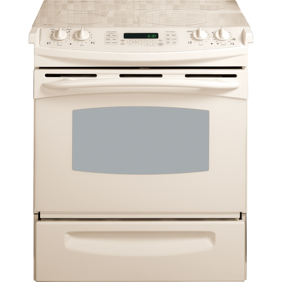 GE Profile 30-in Smooth Surface 5-Element 4.1 cu ft Self-Cleaning Slide-In Convection Electric Range (True Bisque)