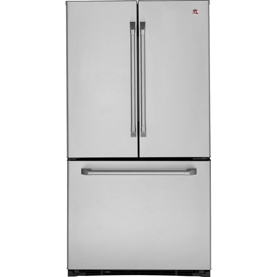 GE Cafe 20.7-cu ft French Door Counter-Depth Refrigerator with Single Ice Maker (Stainless Steel)