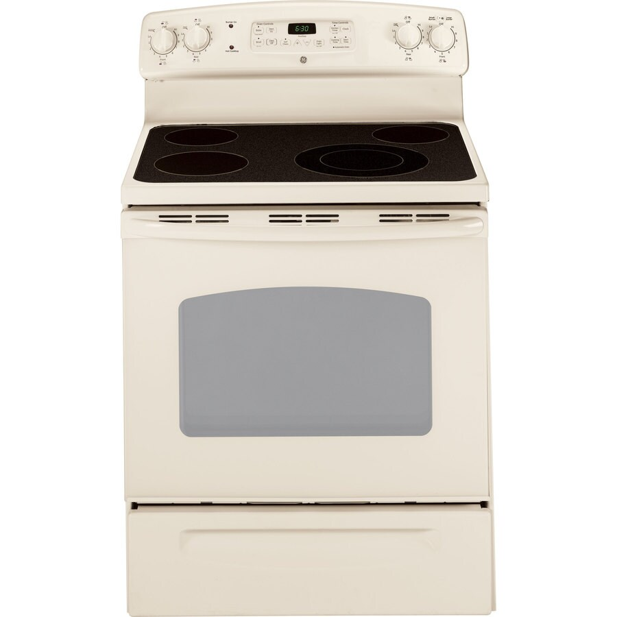 GE 30-in Freestanding Smooth Surface 5.3 cu ft Self-Cleaning Electric Range (Bisque)