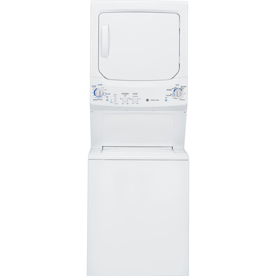 ge gas stacked laundry center with 32cu ft washer and 59cu ft