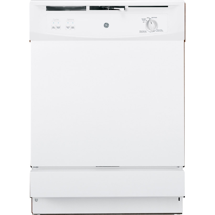 GE 64-Decibel Built-In Dishwasher with Hard Food Disposer (White) (Common: 24-in; Actual: 24-in)