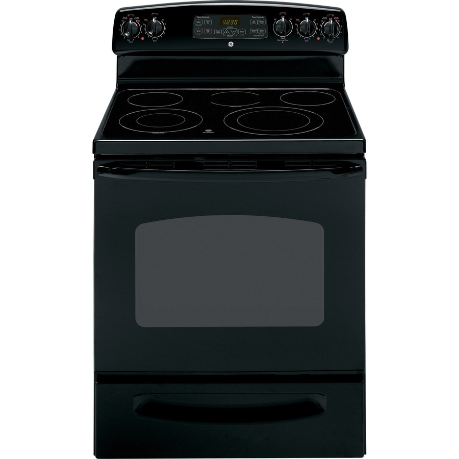 GE 30-in Freestanding Smooth Surface 5-Element 5.3 cu ft Self-Cleaning Electric Range (Black)
