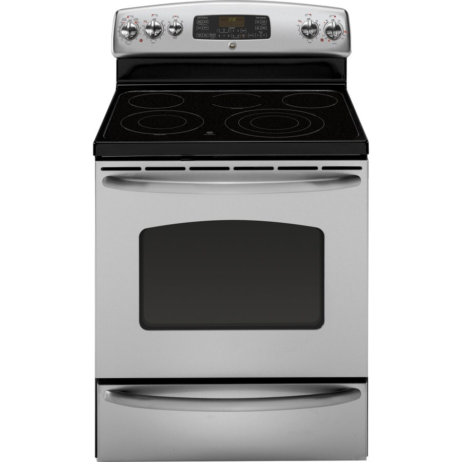 GE Smooth Surface Freestanding 5-Element 5.3-cu ft Self-Cleaning Convection Electric Range (Stainless) (Common: 30-in; Actual: 29.875-in)