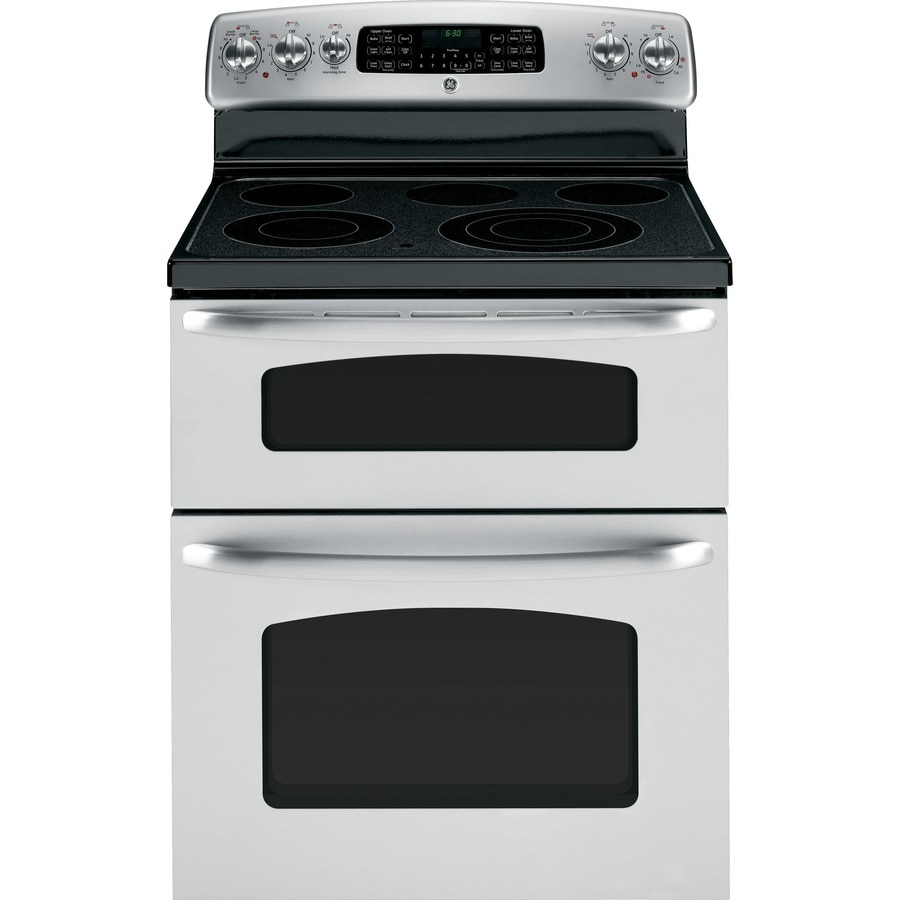 GE 30-in Smooth Surface 5-Element 4.4-cu ft / 2.2-cu ft Self-Cleaning Double Oven Electric Range (Stainless Steel)