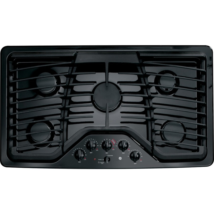 5 Burner Gas Cooktops: GE Profile 5-Burner Gas Cooktop (Black) (Common: 36-in