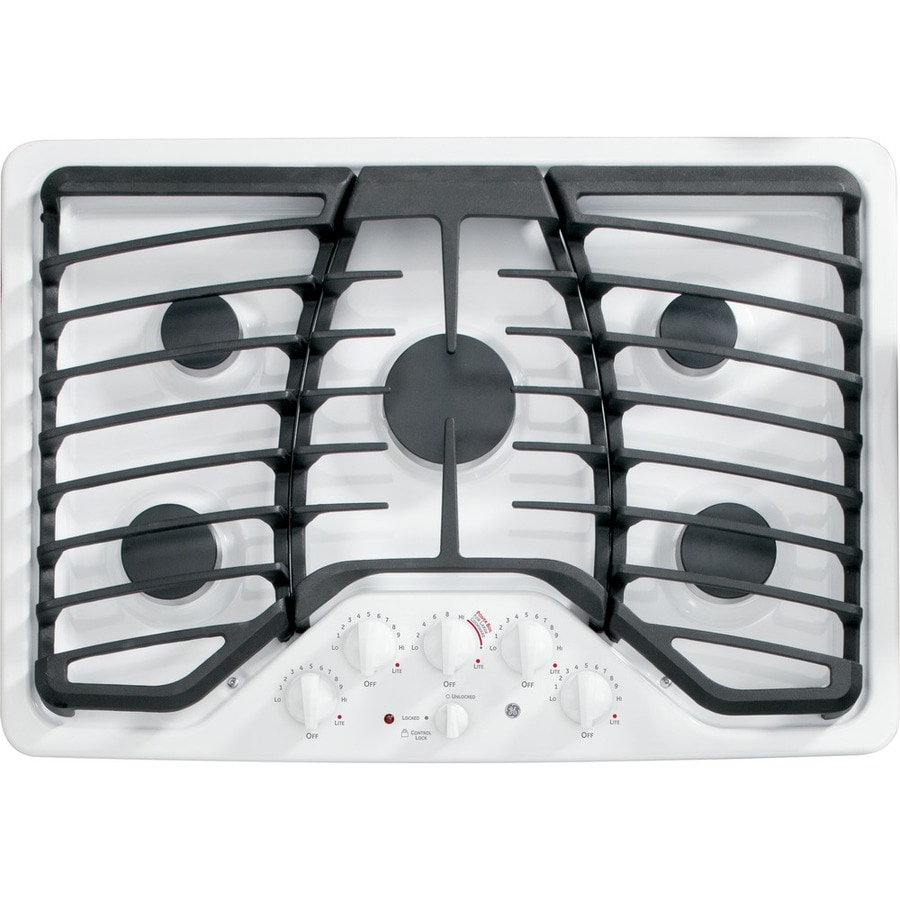 5 Burner Gas Cooktops: GE Profile 5-Burner Gas Cooktop (White) (Common: 30-in
