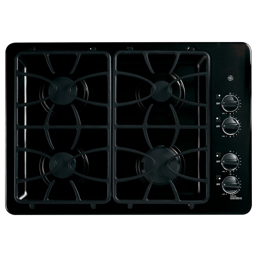 GE 4-Burner Gas Cooktop (Black) (Common: 30-in; Actual: 30-in)