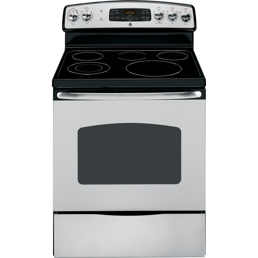 GE Smooth Surface Freestanding 5-Element 5.3-cu ft Self-Cleaning Electric Range (Stainless) (Common: 30-in; Actual: 29.875-in)