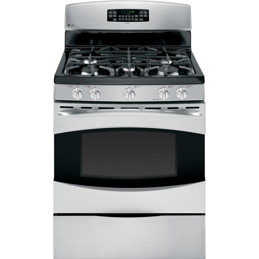 GE Profile 5-Burner Freestanding 5.4-cu ft Self-Cleaning Convection Gas Range (Stainless Steel) (Common: 30-in; Actual: 30-in)