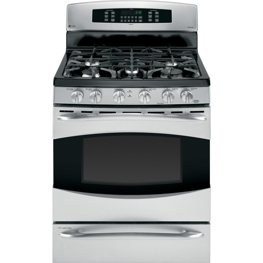 GE Profile 30-in 5-Burner 5.4-cu ft/1-cu ft Self-Cleaning Double Oven Convection Dual Fuel Range (Stainless Steel)