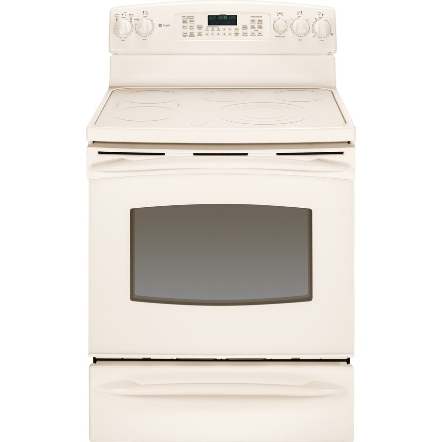 GE Profile 30-in Freestanding Smooth Surface 5-Element 5.3 cu ft Self-Cleaning Convection Electric Range (Bisque)
