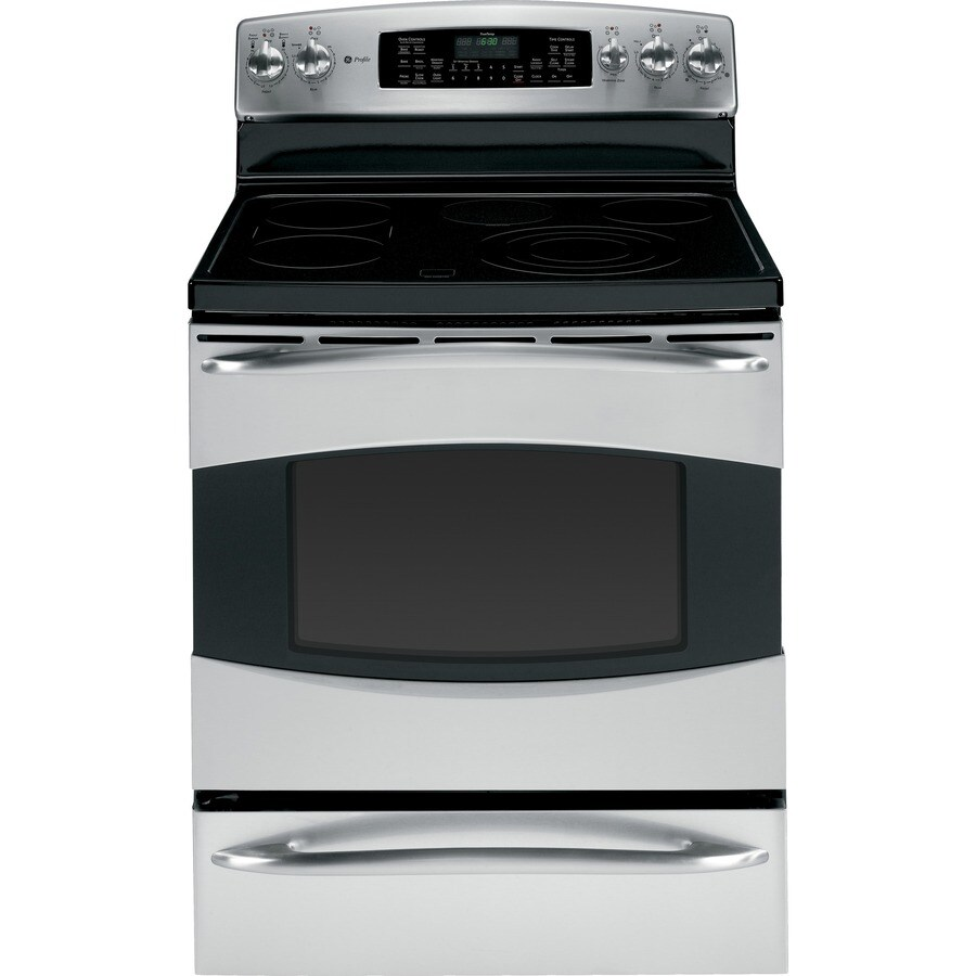 GE Profile Smooth Surface Freestanding 6-Element 6.6-cu ft Self-Cleaning Convection Electric Range (Stainless Steel) (Common: 30-in; Actual: 29.87-in)