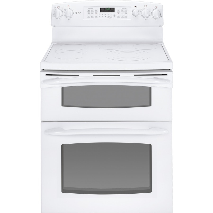 GE Profile 30-in Smooth Surface 6-Element 2.2 cu ft/4.4 cu ft Self-Cleaning Convection Electric Range (White)