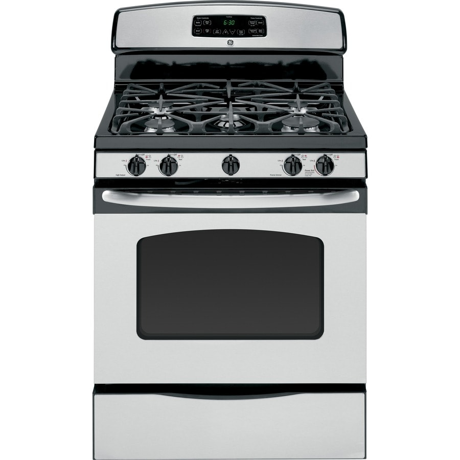 GE 5-Burner Freestanding 5-cu ft Self-Cleaning Gas Range (Stainless Steel) (Common: 30; Actual: 30-in)