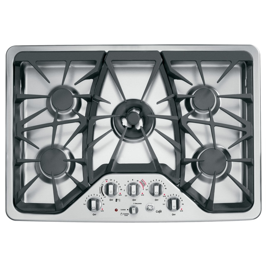 GE Cafe 5 Burner Gas Cooktop Stainless Steel Common 30