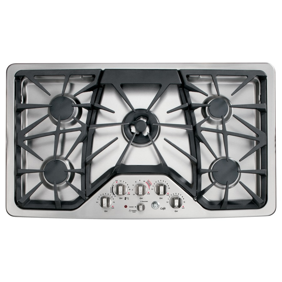GE Cafe 5 Burner Gas Cooktop Stainless Steel Common 36