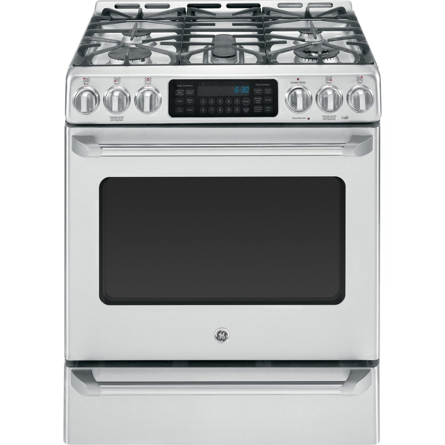 GE Cafe Deep Recessed 5-Burner Self-cleaning Convection Single Oven Dual Fuel Range (Stainless steel) (Common: 30-in; Actual 30-in)
