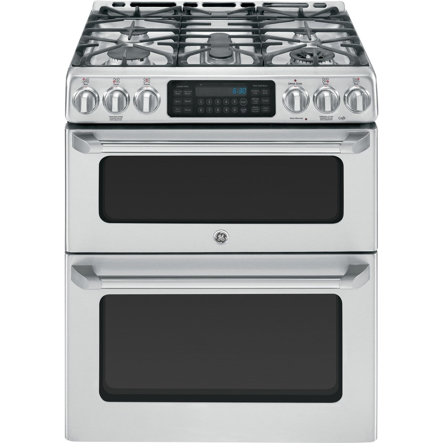 GE Cafe 30-in 5-Burner 4.3-cu ft / 2.4-cu ft Self-Cleaning Double Oven Convection Single-Fan Gas Range (Stainless Steel)