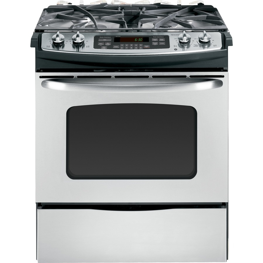 ge 30in 4burner slidein gas range stainless steel