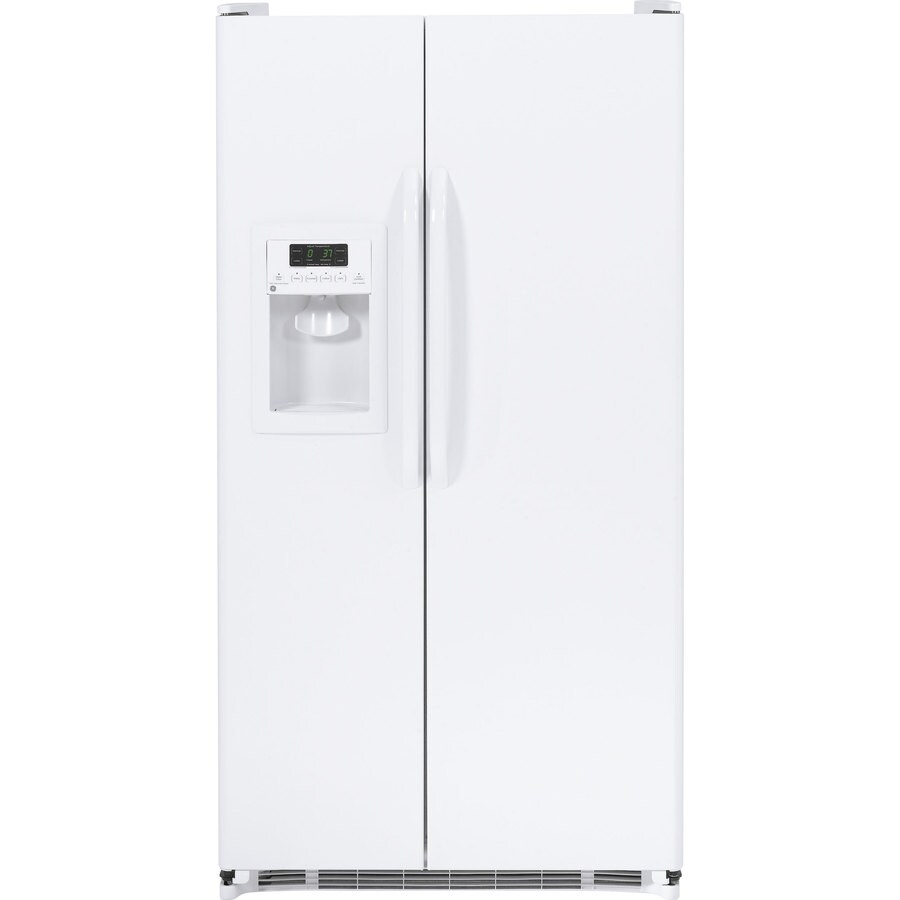 GE 25.25-cu ft Side-by-Side Refrigerator with Single Ice Maker (White)