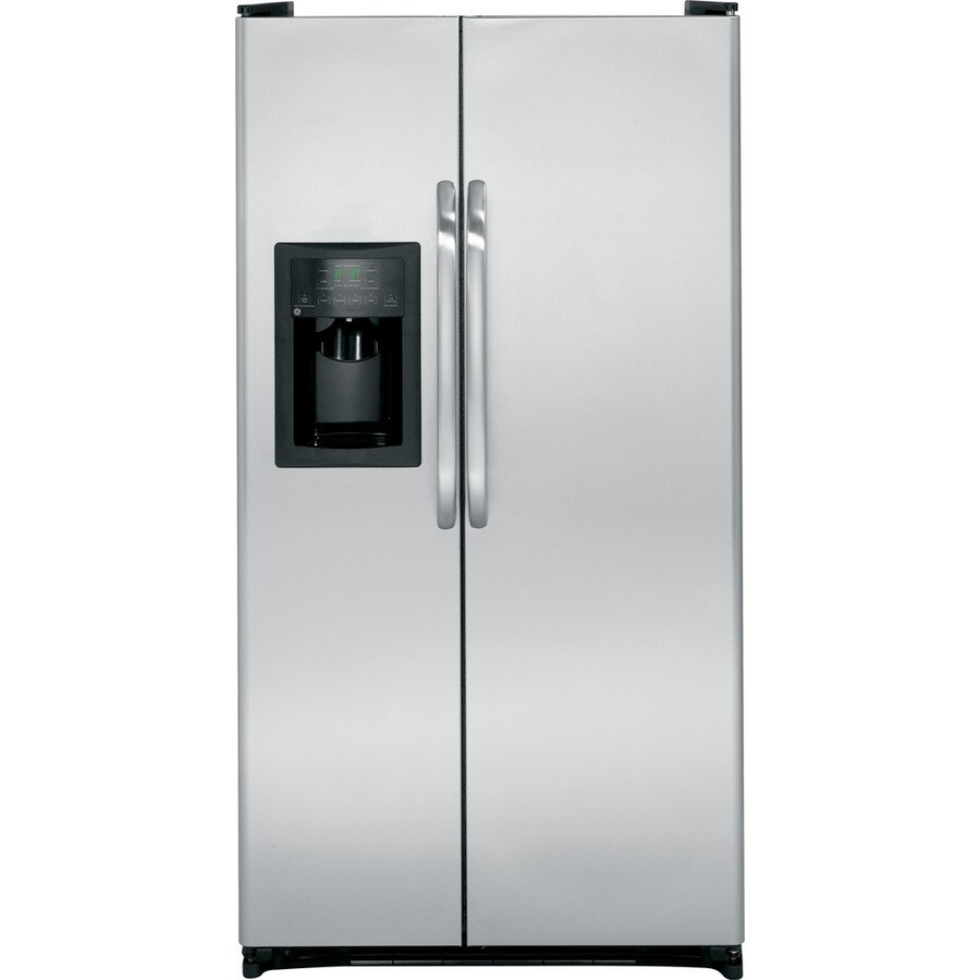 GE 21.9-cu ft Side-by-Side Refrigerator with Single Ice Maker (Stainless-Steel)