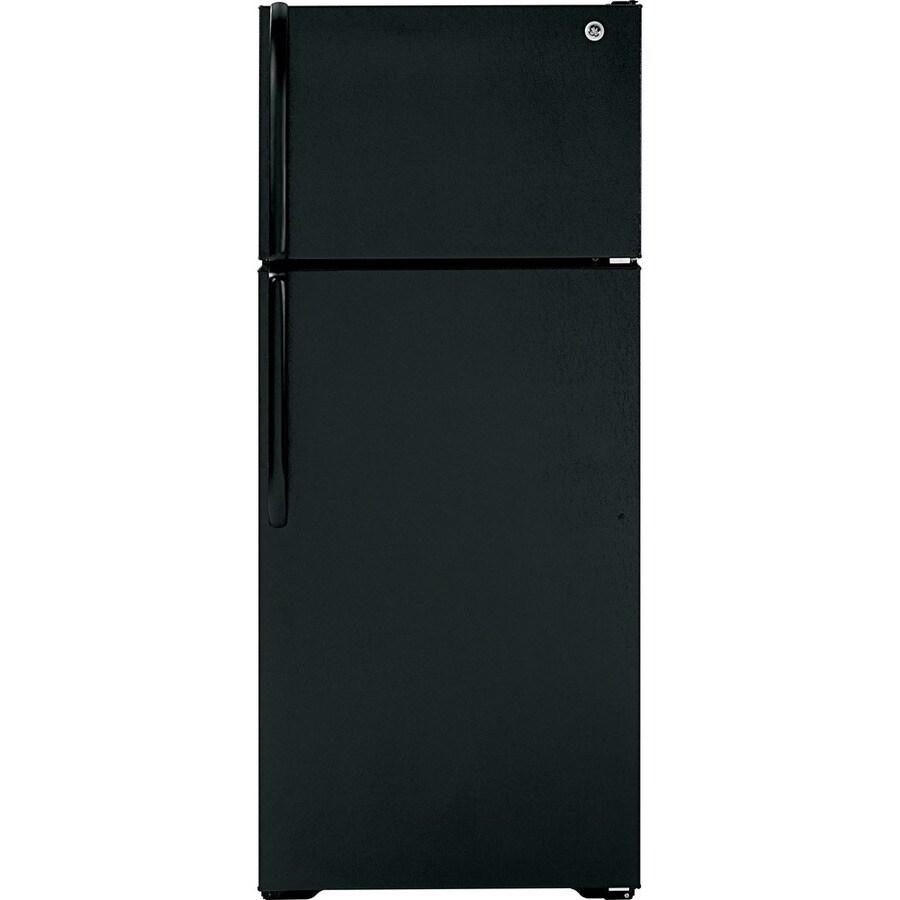 GE 18.1-cu ft Top-Freezer Refrigerator (Black)