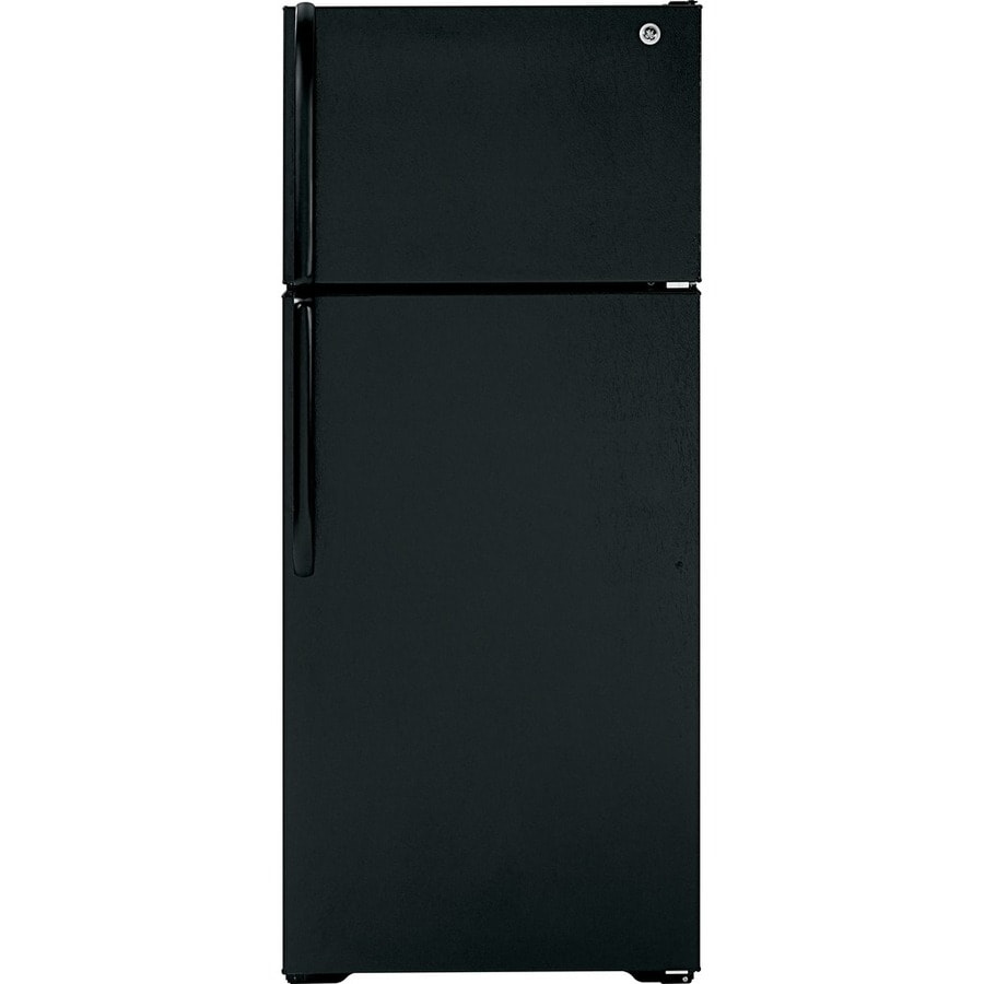 GE 18.1-cu ft Top-Freezer Refrigerator with Single Ice Maker (Black)
