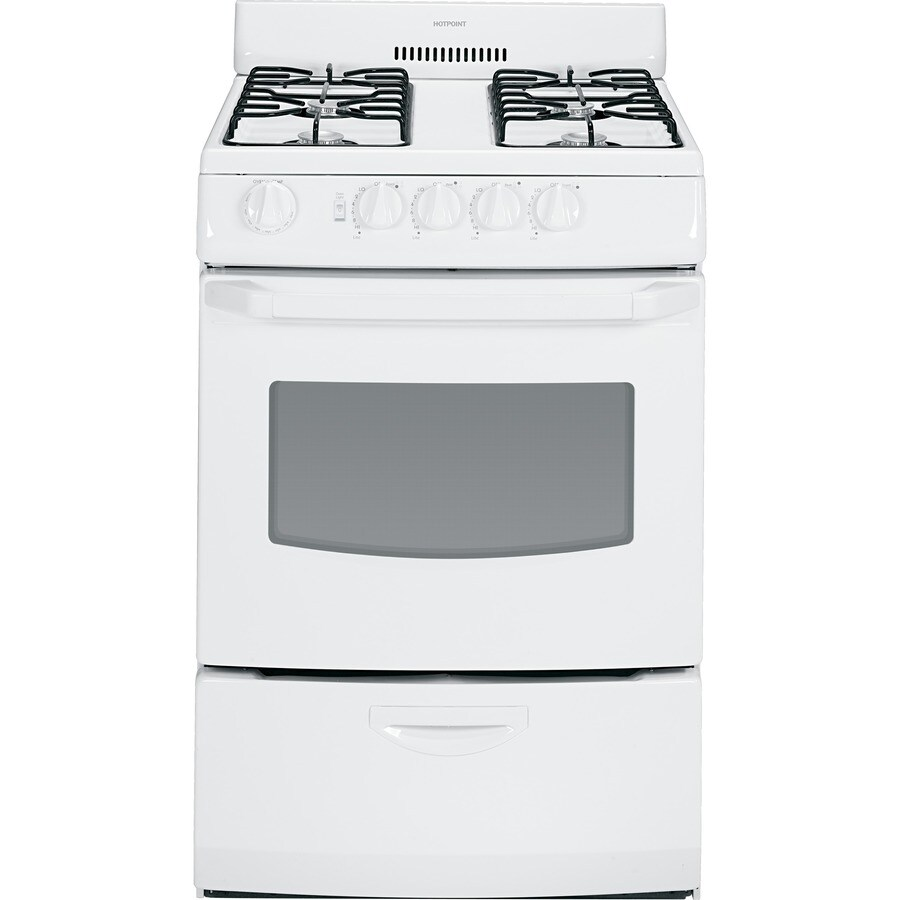 Hotpoint 4-Burner Freestanding 3-cu ft Gas Range (White) (Common: 24-in; Actual: 24-in)