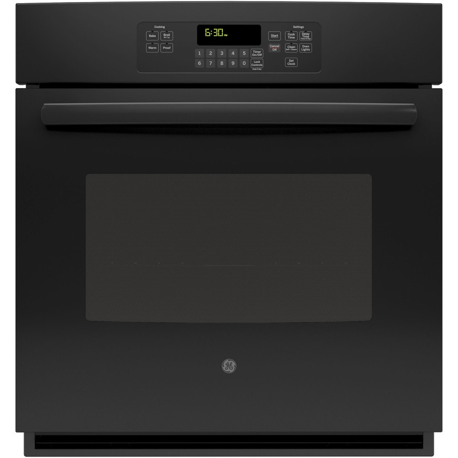 GE Self-Cleaning with Steam Single Electric Wall Oven (Black) (Common: 27-in; Actual 26.71875-in)